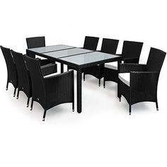 Rattan Garden Furniture Dining Set Rectangular Table Outdoor Patio 8 Seater Cube