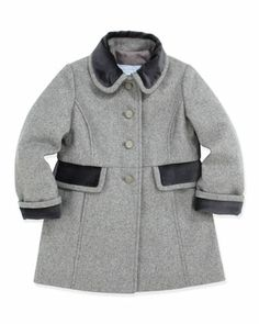 Wool Coat with Velvet Trim, Gray, 2T-5 by Tartine et Chocolat at Neiman Marcus.