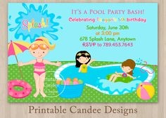 Pool Party Invitations For Kids Free Printable