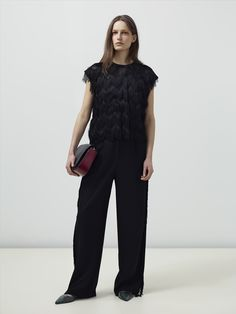 Look 16 - Top: Dalla Fringe Top  Trousers: Loki Fringe Trousers  Bag: Rosco Bag  Shoes: Finna Flat Pump