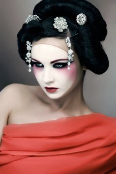 Japanese-inspired makeup fashion.  Make-up - Samantha Weightman, Photograph y - Jim Crone, Model - Diona Doherty, Styling - Sara O'Nei...