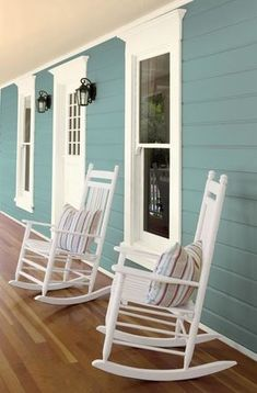 A fresh coat of the BEHR 2018 Color of the Year, In The Moment, makes this front porch come alive wi Modern Paint Colors, Paint Colors For Home, Modern Color Schemes, Neutral Paint, Gray Paint, Paint Colours, Colour Schemes, Color Trends, Beach House Colors