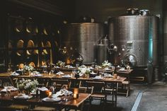 Wedding guests at Brooklyn Winery will have the pleasure of eating dinner in our Harvest Room--the very location where we make all of our wine.