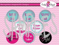 Set of 8 Recognition Magnet/Pin Designs  PERFECT by InfinitelyMore, $3.50