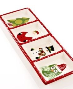 Christmas Cut-Outs Dinnerware, 4-Section Relish Tray. Christmas Cut-Outs Dinnerware, 4-Section Relish Tray Home - Dining & Entertaining Tableware - Casual Dinnerware (Clearance). Price: $20.00