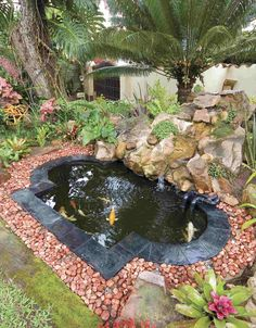 Small Koi Pond in backyard garden. #Pond #Pondsealant http://www.pondpro2000.com/ #waterfeature