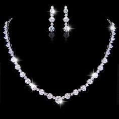 Diamond Cut AAA Zircon Bridal Necklace Earring Set by Annamall, $36.99