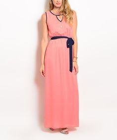 Look at this #zulilyfind! Forever Lily Coral & Navy Tie-Waist Keyhole Maxi Dress by Forever Lily #zulilyfinds