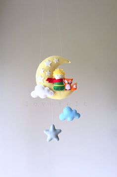 Baby mobile - The Little Prince mobile - Moon mobile - Le Petit Prince - Crib Mobile Moon - Baby Mobile Stars