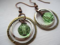 Green Swarovski and Mixed Metals Dangle Earrings by BrookeAlene, $30.00