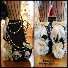 If I ever got married, THESE would be perfect:) -Lace Salem Rosary Skull Boots by kaylastojek on Etsy Ankle Boots Dress, Platform Ankle Boots, Shoe Boots, Platform Pumps, Shoes Heels, Funky Shoes, Crazy Shoes, Me Too Shoes, Weird Shoes