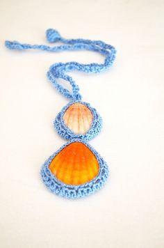 Unique Seashell pendant, turquoise,  Necklace,Summer accessories - crochet