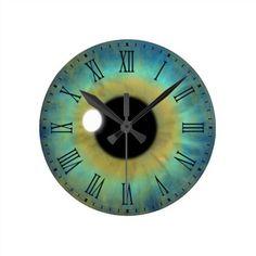 Blue Eye Iris Eyeball Medium Round Roman Clock