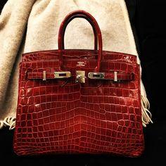 Hermès 25cm Birkin | Bourgogne Niloticus Crocodile | Palladium Hardware