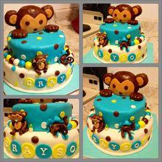 Mod Monkey Birthday Cake  http://www.facebook.com/FondantCustomCakes