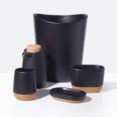 Bathroom Accessories Black rubber coated black bath accessories | black rubber, stoneware and