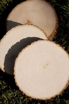 "Natural Tree Slices, Slabs, Round 9-12"" $8.99 each / 3 for $8 each     1"" thick   both sides are sanded smooth.    These are natural wood slices with bark on every side. Very smooth finish. Each is unique."