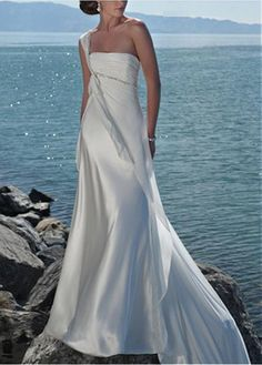 ELEGANT CHARMEUSUE CHIFFON ONE SHOULDER CHAPEL WEDDING DRESS FOR YOUR BEACH WEDDING LACE BRIDESMAID PARTY COCKTAIL