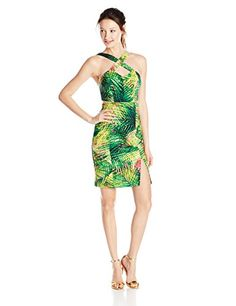 a0eb0b301d0 XOXO Juniors  Tropical-Print Crossover Sheath Dress at Amazon Women s  Clothing store