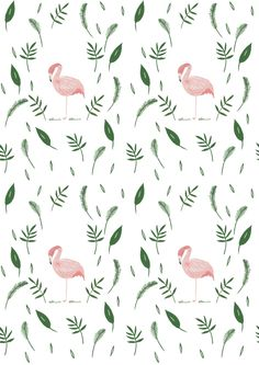Flamingo leafy nature pattern design / This would be a most wonderful wallpaper feature! Pattern Texture, Pattern Art, Pattern Design, Cute Pattern, Nature Pattern, Print Design, Design Design, Illustration Inspiration, Pattern Illustration
