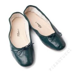 E. Porselli Dark Green Leather Ballet Flats