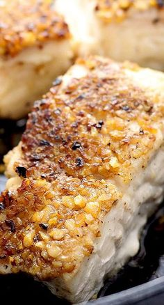 Encrusted Halibut Recipe ~ a deliciously simple, yet impressive way to prepare the steak of seafood.Pecan Encrusted Halibut Recipe ~ a deliciously simple, yet impressive way to prepare the steak of seafood. Fish Recipes, Seafood Recipes, Great Recipes, Dinner Recipes, Favorite Recipes, Baked Halibut Recipes, Halibut Steak Recipe, Entree Recipes, Soups