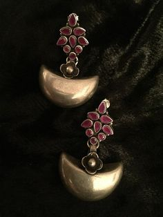 Ruby Studs With Cresent Silver Earrings