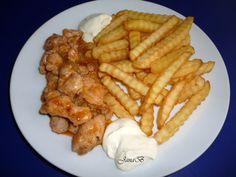 Kuřecí kousky s cibulí recept | sRecepty.CZ Korn, Chicken Wings, Meat, Buffalo Wings