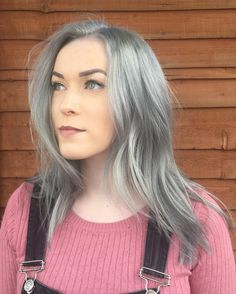 @magic_hair_wizard • @miajanekane came today to retouch her roots and replenish that lovely silver everyone seems to want.  After pre lightening I used 10.12 and 9.11 dialight equal parts and a little squidgy of 2.10.  I also used olaplex so the condition of her hair wasn't compromised! #silver #silverhair #metallichair #hair #haircolor #haircolour #olaplex