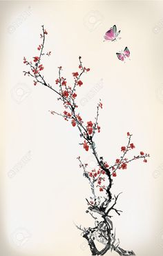 22222080-ink-winter-sweet-Stock-Vector-cherry-blossom-tree.jpg (826×1300)