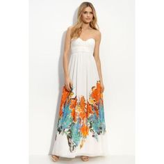 Aidan Mattox Border Print Strapless Chiffon Dress