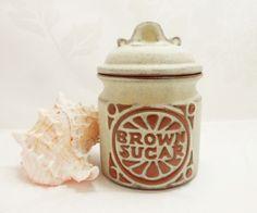 Louis Hudson Pottery Brown Sugar Lidded Stoneware Pot Vintage Cornish British Studio Retro Houseware Kitchen Containers by BelieveToBeBeautiful on Etsy