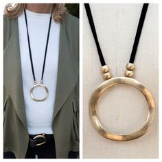 BACK IN STOCK - Our BEST SELLING Black Suede String Necklace with Round Gold Pendant is available in our shop again - Only $32.00 plus Free US Shipping - Get yours before they sell out again www.jacketsociety.com