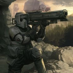 Scout Trooper With Shoulder Fired Munition. Star Wars Fan Art, Star Wars Concept Art, Star Wars Clone Wars, Star Wars Rpg, Star Wars Personajes, Star Wars Images, Star Wars Wallpaper, Hd Wallpaper, Star Wars Poster