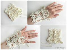 Crochet cuff bracelet  Boho style free pdf pattern chart diagram Вязанный крючком браслет - манжета Бохо стиль