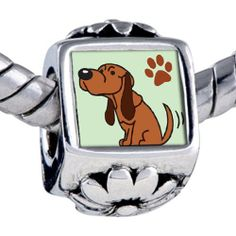 Pugster Bead Blood Hound Dog Beads Fits Pandora Bracelet Pugster. $12.49. Bracelet sold separately. It's the photo on the flower charm. Hole size is approximately 4.8 to 5mm. Fit Pandora, Biagi, and Chamilia Charm Bead Bracelets. Unthreaded European story bracelet design