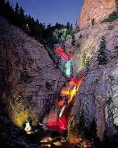 Seven Falls at Night, Colorado Springs