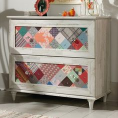 Update your space with this marvelous Sauder Eden Rue patchwork dresser. Painting Wooden Furniture, Decoupage Furniture, Funky Furniture, Refurbished Furniture, Design Furniture, Repurposed Furniture, Furniture Projects, Furniture Makeover, Home Furniture