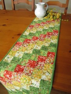 Table Runner Quilted Spring Table Runner Handmade Floral Patchworkmountain.com