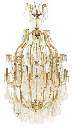 A  Louis XV style bronze and crystal eighteen light chandelier