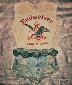 WEBSTA @ backbite_ - ⚡️HELL YES⚡️ couldn't dream up a better outfit if we tried. This amazing old Budweiser tank hits new arrivals tomorrow, and the concho belt is already there waiting to be adopted by a sweet babe's hips.