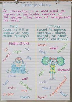 Parts of Speech ~ Interjections - Book Units Teacher English Grammar Notes, Teaching English Grammar, English Grammar Worksheets, English Writing Skills, Writing Lessons, Teaching Writing, English Lessons, Learning English, English Vocabulary