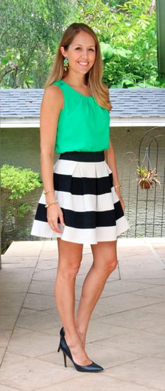 Emerald top, wide striped skirt