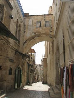 Archway on the Via Dolorosa. This area is part of the Islamic Quarter and is home to many current residents. These partial arches would have been full ones at some point in time. Jerusalem