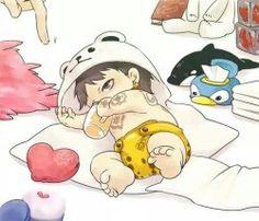 Baby Trafalgar D. Water Law One piece One Piece Anime, One Piece 1, One Piece Fanart, One Piece Luffy, Trafalgar Law, Chibi, Manga Anime, One Piece Drawing, One Peace