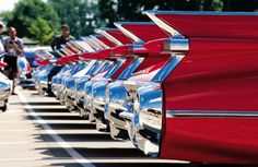 line of finned 59 Caddys
