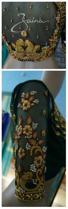 Parrots Choli Blouse Design, Saree Blouse Designs, Blouse Patterns, Blouse Styles, Beautiful Blouses, Beautiful Saree, Maggam Work Designs, Indian Blouse, Work Blouse