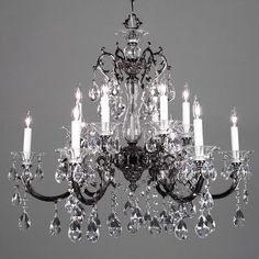 Classic Lighting Via Lombardi 12 Light Crystal Chandelier Crystal Type: Swarovski Elements, Finish: Champagne Pearl