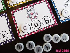 Bottle caps are so fun for building CVC words... check out this awesome post for a lot of ways to use bottle caps for word work for reading short vowel words, beginning sounds, ending sounds, middle sounds / vowel sounds, segmenting sounds, etc... I love these!