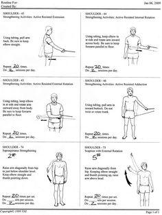 7 Unique Rotator Cuff Strengthening Exercises for Solid Shoulders rotator cuff strengthening exercises - rehab handout / also for frozen shoulder Shoulder Rehab Exercises, Frozen Shoulder Exercises, Shoulder Stretches, Shoulder Workout, Isometric Shoulder Exercises, Isometric Exercises, Fitness Video, Sport Fitness, Pilates